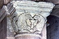 Chartres: Notre Dame Cathedral. Chapiteau roman partie basse de la Tour Nord. Reference only.