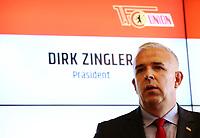 president Dirk Zingler, press conference PK Vorstellung sport director  Manager  <br /> / Sport / Football /   2.Bundesliga  DFL /  2018/2019 / 15.05.2018 / 1.FC Union Berlin FCU 180515005 /      <br />     *** Local Caption *** © pixathlon<br /> Contact: +49-40-22 63 02 60 , info@pixathlon.de