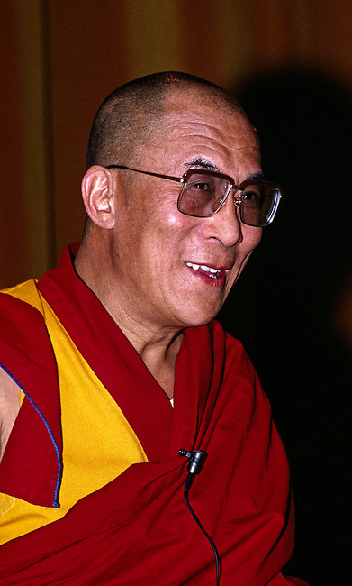 THE 14TH DALAI LAMA of TIBET speaks in Santa Cruz one day after he received the NOBEL PEACE PRIZE in 1989