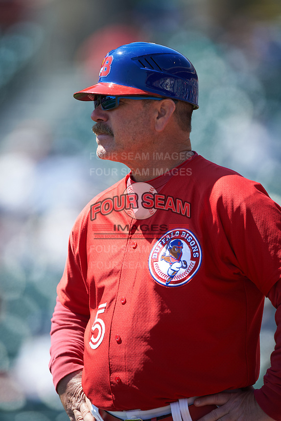 Buffalo Bisons manager Gary Allenson (5) during a game against the Louisville Bats on May 2, 2015 at Coca-Cola Field in Buffalo, New York.  Louisville defeated Buffalo 5-2.  (Mike Janes/Four Seam Images)