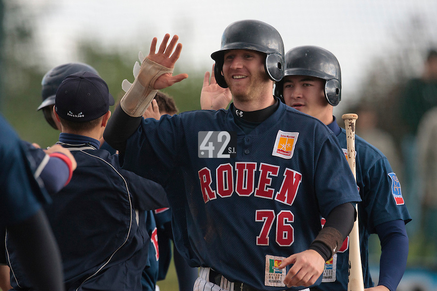 16 October 2010: Aaron Hornostaj of Rouen celebrates during Rouen 16-4 win over Savigny, during game 1 of the French championship finals, in Savigny sur Orge, France.