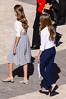 MADRID, SPAIN- October 12: **NO SPAIN**  Princess Sofia and Princess Leonor attend The National Day Military Parade at Royal Palace on October 12, 2020 in Madrid, Spain. <br /> CAP/MPI/RJO<br /> ©RJO/MPI/Capital Pictures