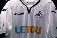 Pictured: Home shirts on display. Saturday 01 July 2017<br /> Re: The new 2017-2018 season, Swansea City FC kit has officially gone on sale at the club's Liberty Stadium shop, Wales, UK
