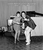 Sujet : Ginette Reno et Jacques Boulanger<br /> Date : 22 mai 1969<br /> Photographe : Photo Moderne<br /> Collection : Jocelyn Paquet<br /> Numéro : DSC32962<br /> Historique de diffusion: