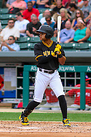 Indianapolis Indians outfielder Jason Martin (27) at bat during an International League game against the Buffalo Bisons on July 28, 2018 at Victory Field in Indianapolis, Indiana. Indianapolis defeated Buffalo 6-4. (Brad Krause/Four Seam Images)