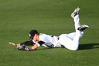 UCF Knights outfielder Alex Friedrich #39 attempts to make a diving catch during a game against the Siena Saints at the UCF Baseball Complex on March 3, 2012 in Orlando, Florida.  UCF defeated Siena 6-4.  (Mike Janes/Four Seam Images)