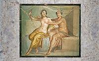 Roman Erotic Fresco from Pompeii depicting Mars caressing Venus, Naples National Archaeological Museum - 1st century AD