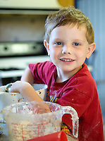 4 Year old boy baking