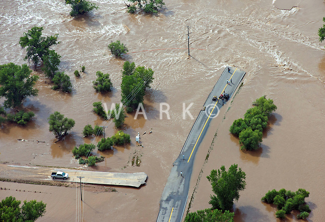 Flooding along South Platte River in Weld County, Colorado.  Hwy 53.  Hwy 388