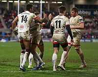 Saturday 22nd February 2020 | Ulster vs Cheetahs<br /> <br /> Robert Baloucoune is congratulated by Michael Lowry, Louis Ludik and Jordi Murphy during the PRO14 Round 12 clash between Ulster and the Cheetahs at Kingspan Stadium, Ravenhill Park, Belfast, Northern Ireland. Photo by John Dickson / DICKSONDIGITAL
