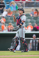 Rome Braves catcher Tanner Murphy (15) lets his defense know there are two outs during the game against the Kannapolis Intimidators at Kannapolis Intimidators Stadium on April 12, 2017 in Kannapolis, North Carolina.  The Braves defeated the Intimidators 4-3.  (Brian Westerholt/Four Seam Images)