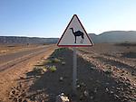 A roadsign South of Zagora on the edge of the Sahara Desert in Morocco.