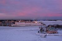 Silja Finnjet in Helsinki harbour at winter sunset.