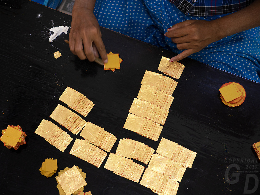 Traditional gold leaf production in Mandalay, Myanmar