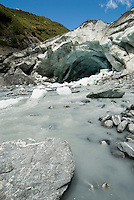 The terminal cave of the Franz Josef Glacier with Waiho River - Westland National Park, West Coast
