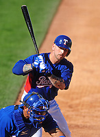 Feb 27, 2008; Suprise, AZ, USA; Texas Rangers infielder Ryan Roberts against the Kansas City Royals at Suprise Stadium. Mandatory Credit: Mark J. Rebilas-US PRESSWIRE