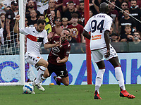 2nd October 2021; Arechi Stadium, Salerno, Italy; Serie A football, Salernitana versus Genoa : Mattia Bani of Genoa Frank Ribery of Salernitana