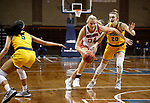 SIOUX FALLS, SD - MARCH 8: Hannah Sjerven #34 of the South Dakota Coyotes drives past Emily Behnke #20 of the North Dakota State Bison during the Summit League Basketball Tournament at the Sanford Pentagon in Sioux Falls, SD. (Photo by Richard Carlson/Inertia)