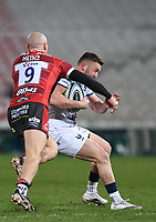 12th February 2021; Kingsholm Stadium, Gloucester, Gloucestershire, England; English Premiership Rugby, Gloucester versus Bristol Bears; Willi Heinz of Gloucester tackles Andy Uren of Bristol Bears