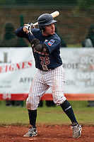 17 October 2010: Boris Marche of Rouen is seen at bat during Rouen 10-5 win over Savigny, during game 2 of the French championship finals, in Savigny sur Orge, France.
