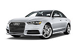 Stock pictures of low aggressive front three quarter view of 2016 Audi A6 Competition 4 Door Sedan