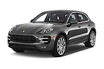 2018 Porsche Macan Turbo 5 Door SUV angular front stock photos of front three quarter view
