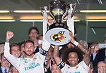 Sergio Ramos (l) and Marcelo Vieira Da Silva of Real Madrid hold up one of their trophies prior to the La Liga 2017-18 match between Real Madrid and Valencia CF at the Estadio Santiago Bernabeu on 27 August 2017 in Madrid, Spain. Photo by Diego Gonzalez / Power Sport Images