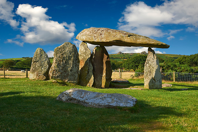 Pentre Ifan a Neolithic megalitic stone burial chamber dolmen built about 3500 BC in the parish of Nevern, Pembrokeshire, Wales.