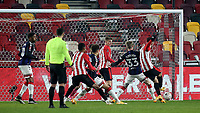 Halil Dervisoglu scores Brentford's opening goal during Brentford vs Middlesbrough, Emirates FA Cup Football at the Brentford Community Stadium on 9th January 2021