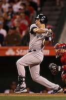 Mark Teixeira #25 of the New York Yankees bats against the Los Angeles Angels at Angel Stadium on May 29, 2012 in Anaheim,California. Los Angeles defeated New York 5-1.(Larry Goren/Four Seam Images)
