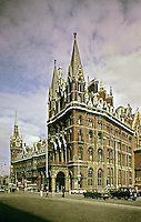 Midland Grand Hotel designed by George Gilbert Scott from 1873-1876. A luxurious hotel constructed next to St. Pancras Railway Station. Redeveloped and now Pancras Renaissance Hotel.