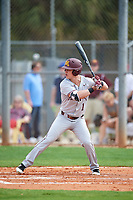 Minnesota Golden Gophers left fielder Ben Mezzenga (1) at bat during a game against the Boston College Eagles on February 23, 2018 at North Charlotte Regional Park in Port Charlotte, Florida.  Minnesota defeated Boston College 14-1.  (Mike Janes/Four Seam Images)