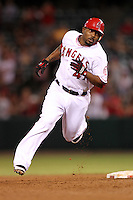 Los Angeles Angels second baseman Howie Kendrick #47 runs the bases against the Chicago White Sox at Angel Stadium on August 23, 2011 in Anaheim,California. Los Angeles defeated Chicago 5-4.(Larry Goren/Four Seam Images)