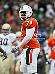 Miami Hurricanes offensive linesman Orlando Franklin (74) in action during the 2010 Hyundai Sun Bowl football game between the Notre Dame Fighting Irish and the Miami Hurricanes at the Sun Bowl Stadium in El Paso, Tx. Notre Dame defeats Miami 33 to 17...