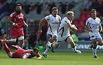 Guiness Pro12<br /> Ulster center Stuart Olding leavesScarlets center Scott Williams trailing.<br /> Scarlets v Ulster<br /> Parc y Scarlets<br /> <br /> 06.09.14<br /> ©Steve Pope-SPORTINGWALES