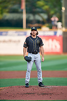 Sacramento River Cats starting pitcher Scott Kazmir (19) during the game against the Salt Lake Bees at Smith's Ballpark on August 16, 2021 in Salt Lake City, Utah. The Bees defeated the River Cats 6-0. (Stephen Smith/Four Seam Images)