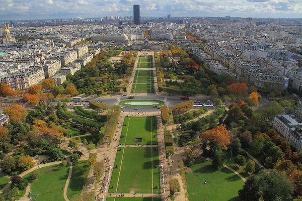 Montparnasse Building and Parc du Champ de Mars, view from Eiffel Tower, Paris, France,