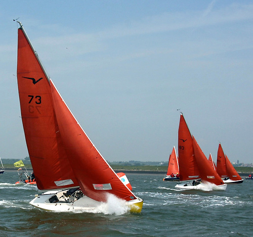 Close action for Squib keelboats - while they still carry the original 1967 rig with the distinctive tanned sails, today's Squib class have greatly advanced their sail-trimming techniques