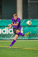 19 October 2013: University at Albany Great Dane Defenseman Thomas Manz, a Senior from Bronx, NY, in action against the University of Vermont Catamounts at Virtue Field in Burlington, Vermont. The Catamounts defeated the visiting Danes 2-1. Mandatory Credit: Ed Wolfstein Photo *** RAW (NEF) Image File Available ***