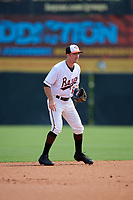Bowie Baysox shortstop Mason McCoy (5) during an Eastern League game against the Akron RubberDucks on May 30, 2019 at Prince George's Stadium in Bowie, Maryland.  Akron defeated Bowie 9-5.  (Mike Janes/Four Seam Images)