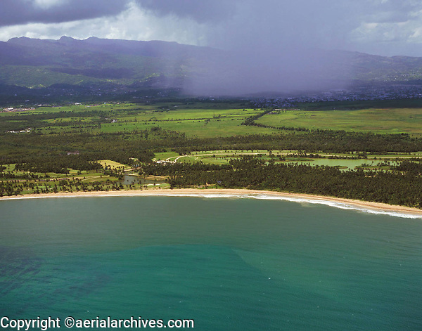 aerial photograph of a cumulonimbus thunder storm and rain showers in Puerto Rico