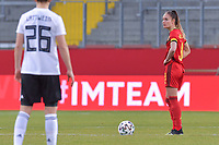 Belgian Tessa Wullaert (9) starting the friendly female soccer game between the national teams of Germany and  Belgium , called the Red Flames  in a pre - bid tournament called Three Nations One Goal with the national teams from Belgium , The Netherlands and Germany towards a bid for the hosting of the 2027 FIFA Women's World Cup , on Sunday 21 st of February 2021  in Aachen , Germany . PHOTO SPORTPIX.BE   SPP   STIJN AUDOOREN