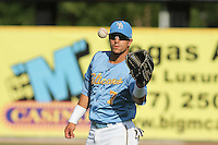 Myrtle Beach Pelicans center fielder Jake Skole #7 warming up in the outfield before the first game of a doubleheader against the Carolina Mudcats at Tickerreturn.com Field at Pelicans Ballpark on May 10, 2012 in Myrtle Beach, South Carolina. Myrtle Beach defeated Carolina by the score of 2-1. (Robert Gurganus/Four Seam Images)