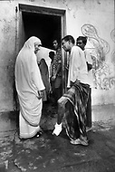 Calcutta, India. April 04, 1975. Mother Teresa was awarded the nobel peace prize in 1979 by the Nobel Commitee in Oslo on October 17. The nun aged 69, born in Yugoslavia from albanian parents has been working for over 30 years in Calcutta Slums and has founded the order of the missionaries of charity; she began by picking up the dying new born babies lying in the garbage and lepers, right from the street.