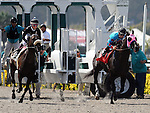 August 8, 2011.Mike Smith riding Joker Face leads coming out of the gate and wins the match race against Chantal Sutherland riding Parable at Del Mar Thoroughbred Club, Del Mar CA