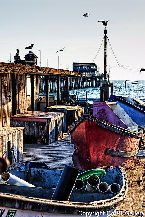 Near the Pier: fishing boats near the Newport Beach pier.