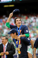 Efrain Juarez (22) and Guillermo Franco (10) celebrate. Mexico (MEX) defeated the United States (USA) 5-0 during the finals of the CONCACAF Gold Cup at Giants Stadium in East Rutherford, NJ, on July 26, 2009.