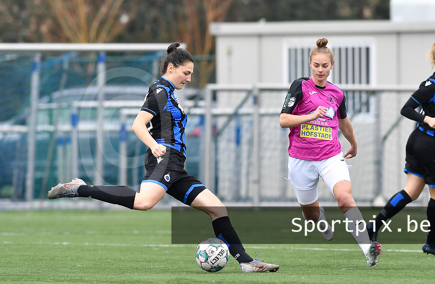 Frieke Temmerman (17 Brugge) pictured with Aalst's Margaux Van Ackere during a female soccer game between Club Brugge Dames YLA and Eendracht Aalst Ladies on the 9 th matchday of the 2020 - 2021 season of Belgian Scooore Womens Super League , saturday 12 December 2020  in Brugge , Belgium . PHOTO SPORTPIX.BE   SPP   DAVID CATRY
