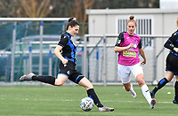 Frieke Temmerman (17 Brugge) pictured with Aalst's Margaux Van Ackere during a female soccer game between Club Brugge Dames YLA and Eendracht Aalst Ladies on the 9 th matchday of the 2020 - 2021 season of Belgian Scooore Womens Super League , saturday 12 December 2020  in Brugge , Belgium . PHOTO SPORTPIX.BE | SPP | DAVID CATRY