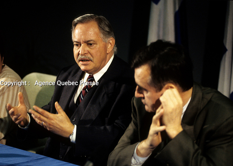 Montreal (Qc) CANADA,1995 File Photo <br /> <br /> Parti Quebecois  Leader Jacques Parizeau (L) and Lucien Bouchard at a press conference, 1995<br /> <br /> Photo by Pierre Roussel / Images Distribution